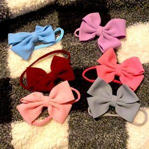 6 baby headband bows
